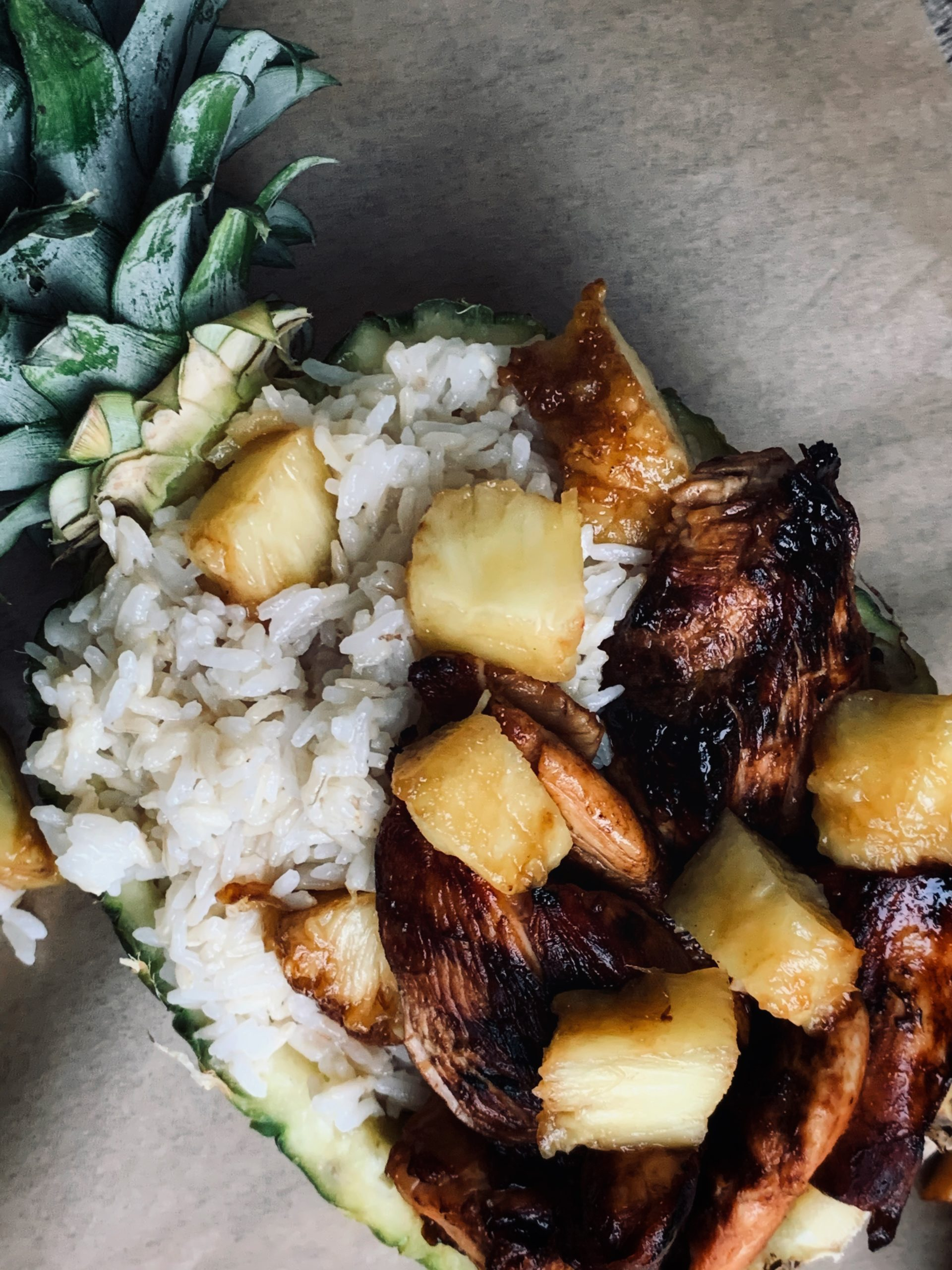 coconut rice and chicken in pineapple