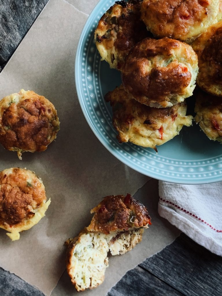aerial view of egg muffins