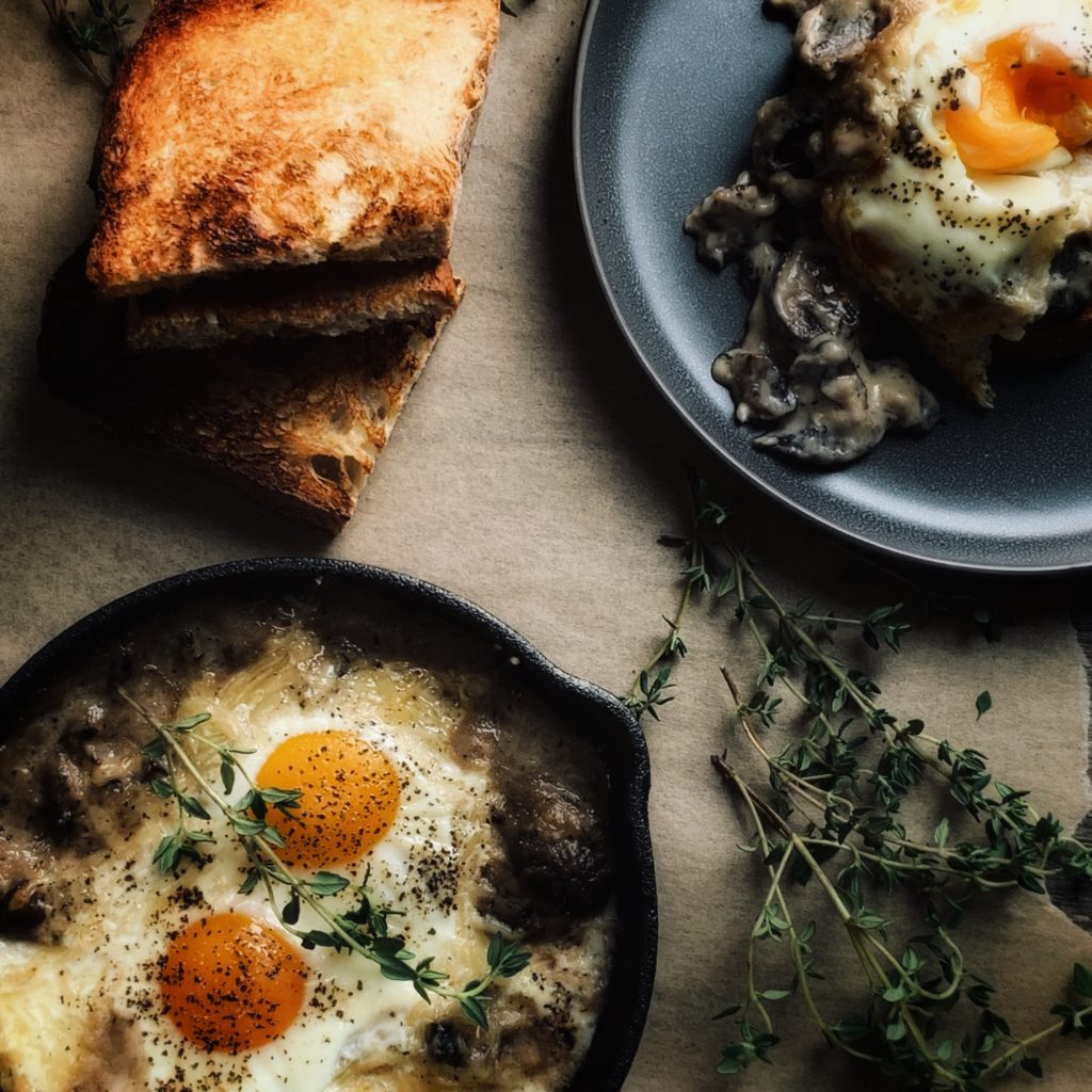 baked eggs in cast iron skillet