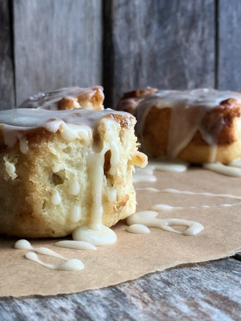 cinnamon rolls with dripping icing