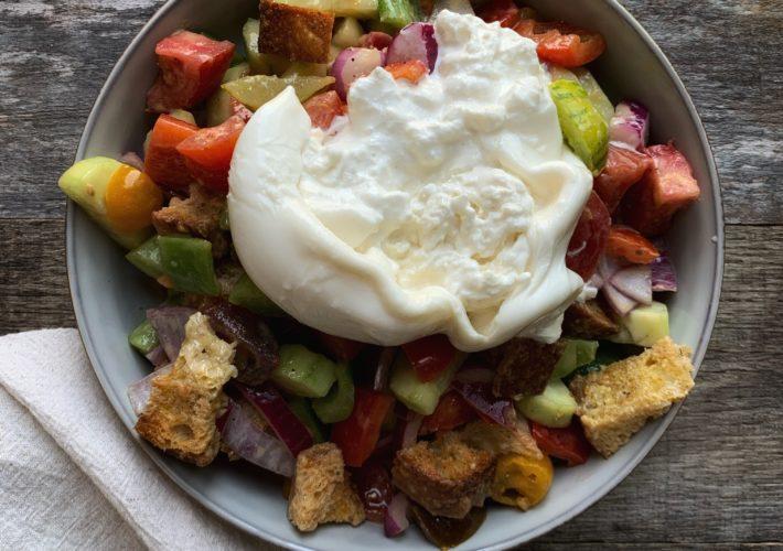 panzanella salad with burrata cheese