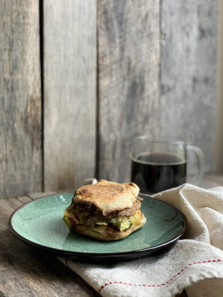 egg sandwich with coffee