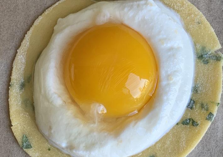 upclose egg yolk and ricotta