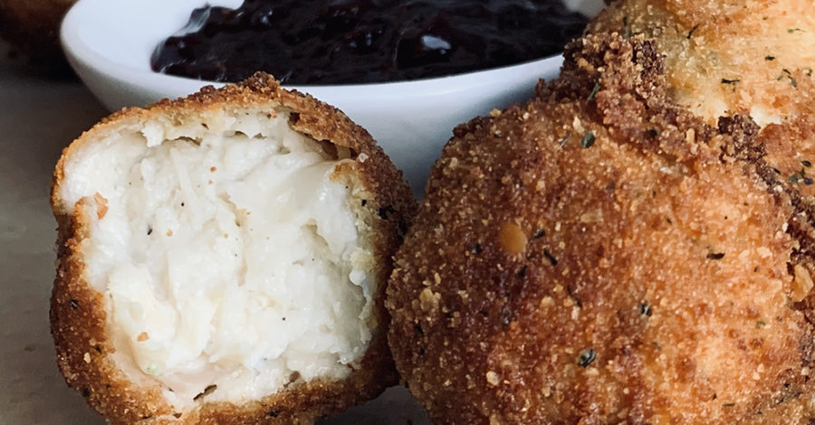 cross section of chicken croquette